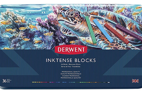 Derwent Inktense Watersoluble Ink Blocks Tin - Set of 36