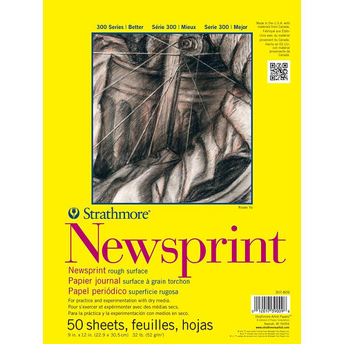 "Strathmore 300 Series Newsprint Pad Rough Tape bound - 52gsm 50 Sheets 9"" x 12"""