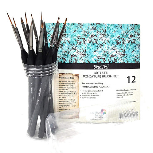 Brustro Artists' Watercolours & Acrylics Miniature Brush - Set of 12 with Free B