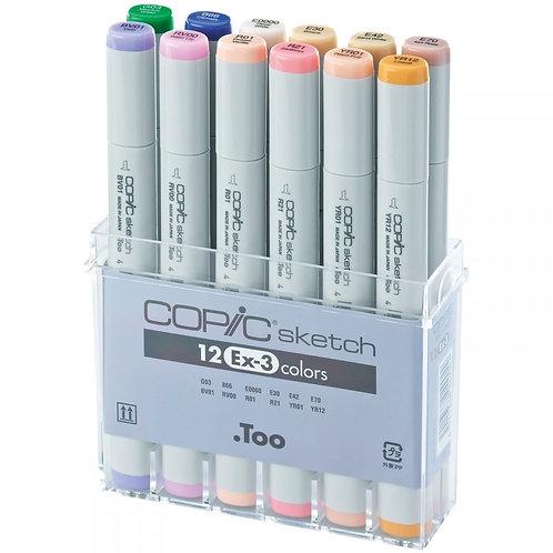 Copic Sketch Marker Set 12 Color Set - EX3