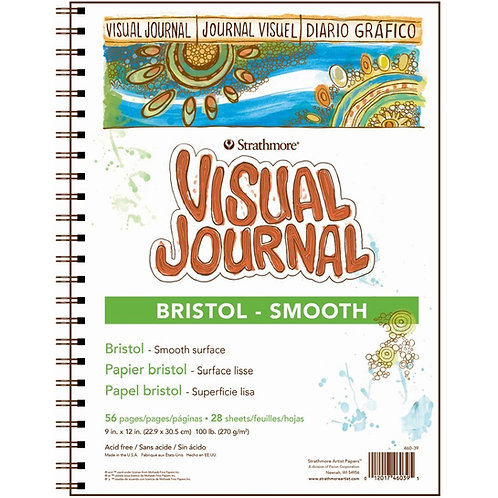 """Strathmore 300 Series Visual Journal - Bristol Smooth 9""""x12""""270 GSM -56 Sheets"""