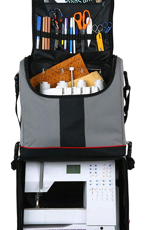 ArtBin Tote Express - Black & White Tic W/Red Piping