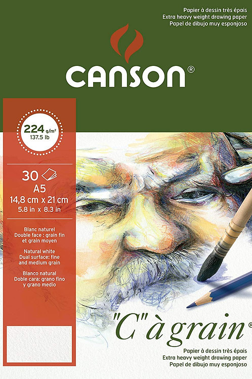 """Canson """"C"""" a Grain Pad 224GSM A5 - 30 Sheets"""