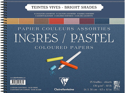 "Clairefontaine Ingres Pastel Colour PadAssorted -9.5"" x 12"""