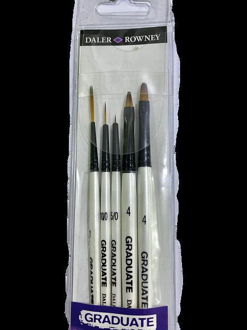 Daler Rowney Graduate All Purpose Brush Synthetic Detail Set - Pack of 5