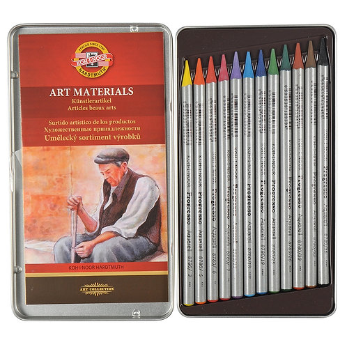 Kohinoor Hardtmuth Aquarelle Woodless Colour Pencils - Set of 12