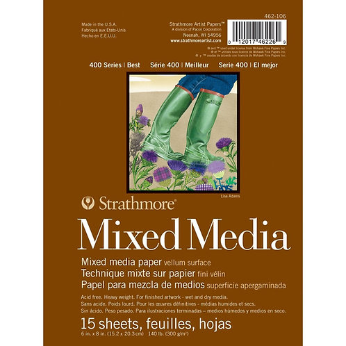 "Strathmore 400 Series Mixed Media Pad 6""x8"" White - 15 Sheets"
