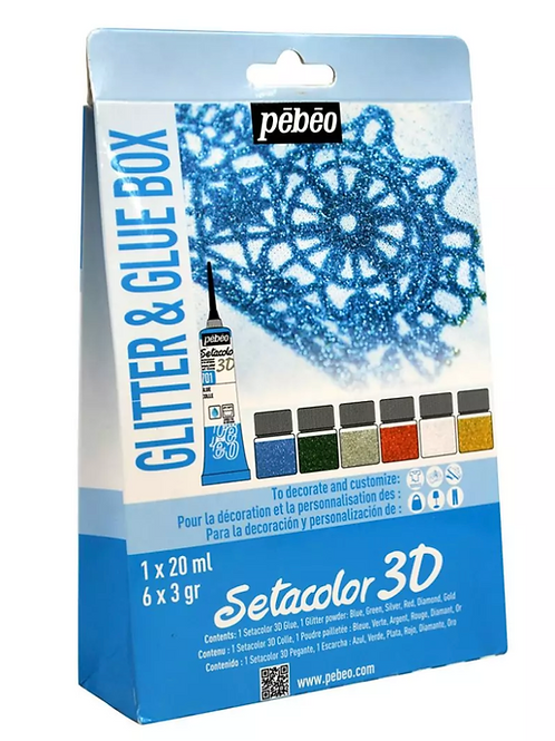 Pebeo Setacolor 3D - Set of 1 Glue (20 ml Tube) and 6 Glitter Powders