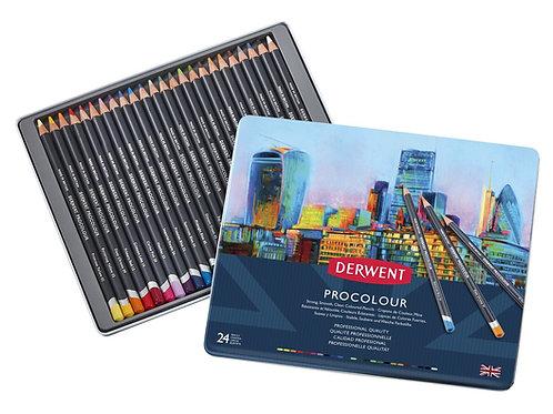 Derwent Coloured Pencils Procolour Pencils Metal Tin - Set of 24