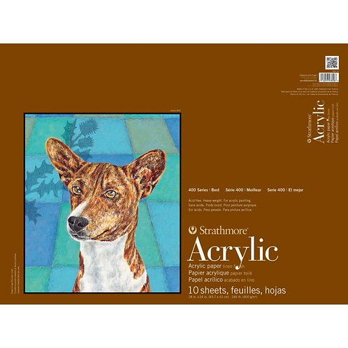"""Strathmore 400 Series Acrylic 18""""x24"""" 400 GSM Paper - Pad of 10 Sheets"""