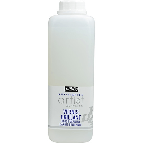 Pebeo Extra Fine Artist Acrylics Auxiliaries - Gloss Varnish - 1000ml bottle