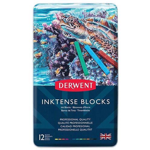 Derwent Inktense Watersoluble Ink Blocks Tin - Set of 12