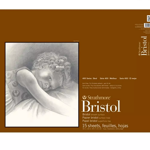 """Strathmore 400 Series Bristol Pad 18""""x24"""" Extra White Extra Smooth - 15 Sheets"""