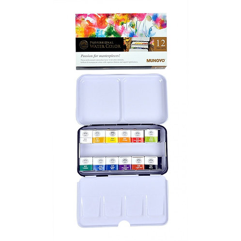 Mungyo Gallery Professional Watercolour Full Size Pan Sets of 12 Colours