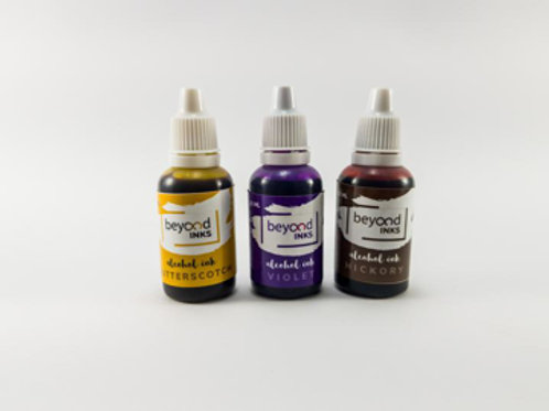 Beyond Inks Alcohol Inks Butterscotch, Violet & Hickory - 3x20ml