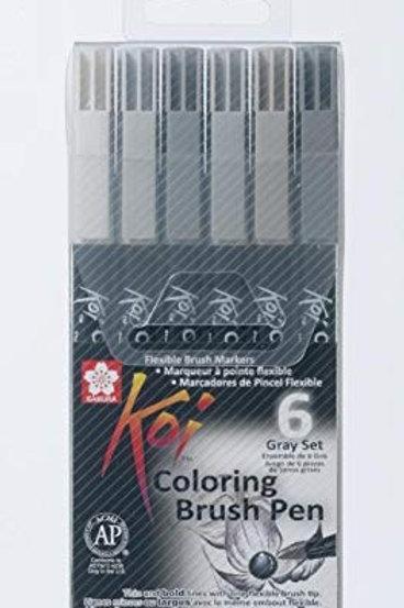 Sakura Koi Colouring Brush Pen Grey Shades - Set of 6