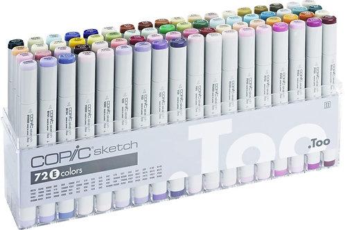 Copic Sketch Marker Set of 72 Colours - Set E