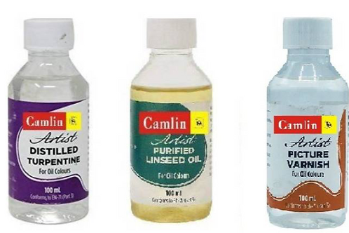 Camlin Pack of Artist Turpentine, Linseed Oil and Picture Varnish - 100ml each