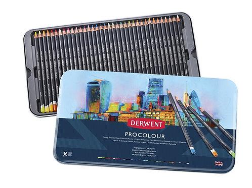 Derwent Coloured Pencils Procolour Pencils Metal Tin - Set of 36