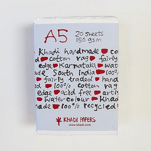 Khadi Paper A5WR 150gsm A5 Rough - Pack of 20