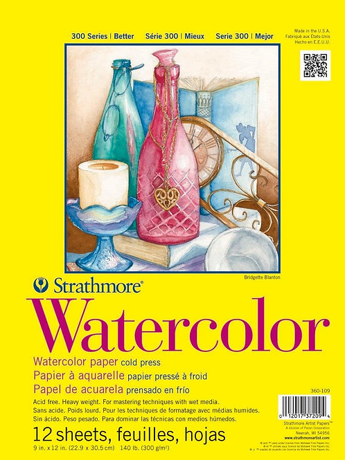 """Strathmore 300 Series Watercolor Pad (9"""" x 12"""") - 12 sheets"""