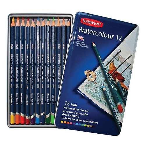 Derwent Watercolour Pencils Tin - Set of 12