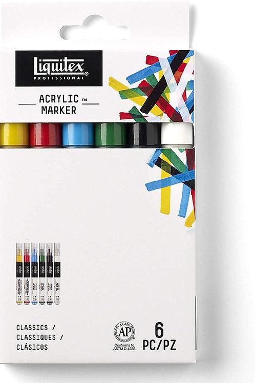 Liquitex Paint Marker Set2-4 mm Fine Nib - Set of 6