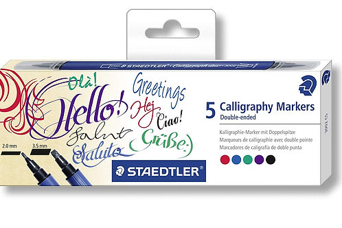 Staedtler Calligraphy Duo Markers - Set of 5 Colours