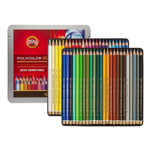 Kohinoor Hardthmuth Polycolor Artist Coloured Pencils Set of 48 - Tin Box