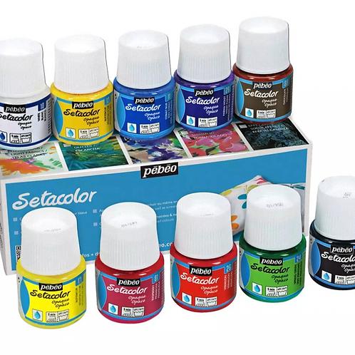 Pebeo Setacolr OpaqueFabric Paint - 45ml Bottles - Assorted Set of10 Colours