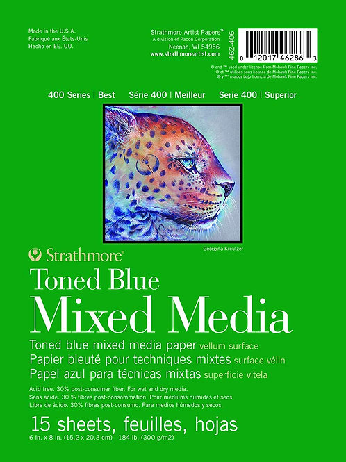 """Strathmore 400 Series Toned Blue Mixed Media Pad 6""""x8"""" Glue Bound -15 Sheets"""