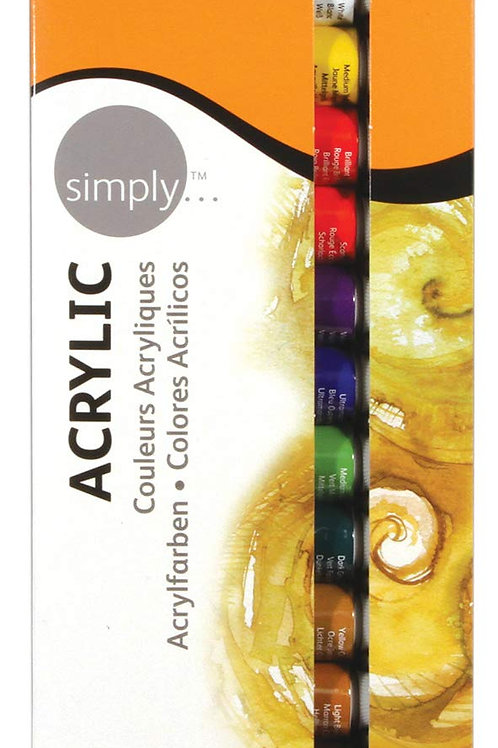 Daler Rowney Simply Acrylic - Set of 12x12ml Tubes