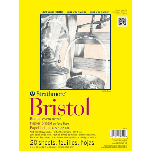 Strathmore 300 Series Bristol Smooth 9''x12'' 270 GSM - Pad of 20 Sheets
