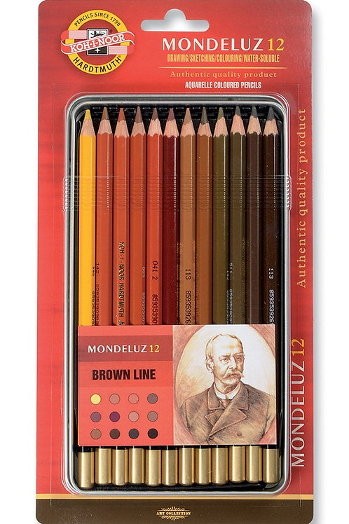 Kohinoor Mondeluz Water Soluble Coloured PencilsTin BoxBrown Line - Set of 12