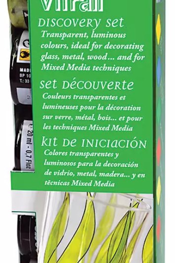 Pebeo Vitrail Glass Paint - 20 ml bottles - Assorted Discovery Set of 6 colours