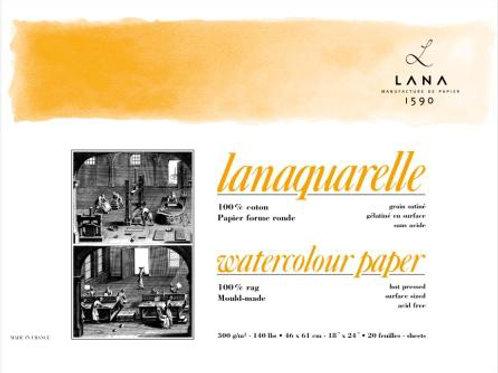 Lana Aquarelle Watercolour Paper Block 20 sheets (Smooth / Stain Grain / Hot Pre
