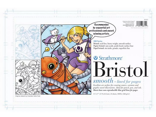 "Strathmore 25-611 Sequential Art Bristol Pad, 11""x17"" - 24 Sheets"
