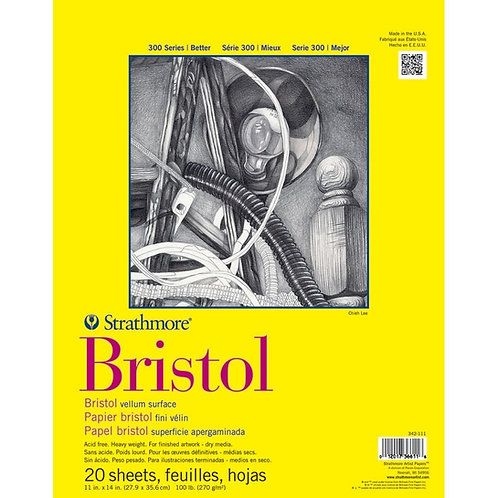 Strathmore 300 Series Bristol 11''x14''270 GSM Paper - Pad of 20 Sheets