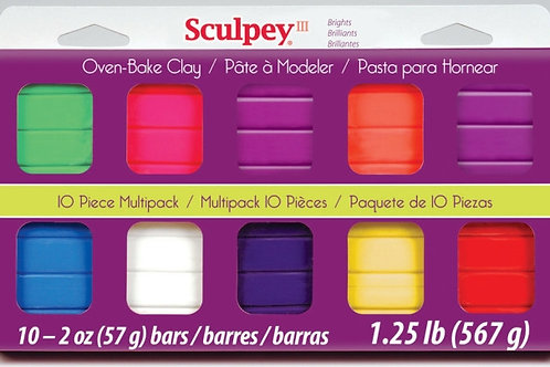 Sculpey III Oven-Bake Clay - Bright Ideas 2oz - Pack of 10