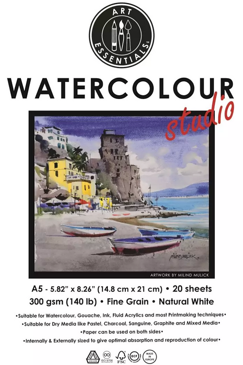 Art Essentials Watercolour A5 Pad - Natural White Fine Grain/Cold - 20 sheets