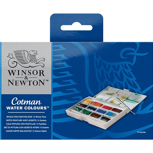 Winsor & Newton Cotman Water Colour Whole Pan Painting Box - 12 Whole Pans