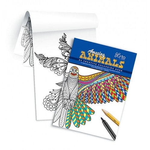 Arto Campap Creative Colouring Book A4 Amazing Animals 180gsm