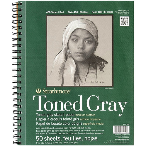 """StrathmoreRecycled Toned Grey Sketch Pad 9""""X12"""" -50 Sheets"""