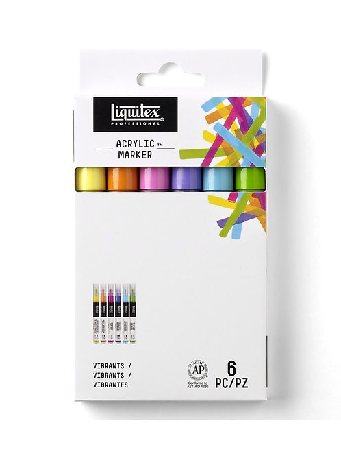 Liquitex Professional Paint Marker Set Fine Vibrant Colours 6