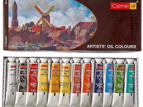 Camlin Kokuyo Artist's Oil Colour Box - 20ml Tubes x 12 Shades