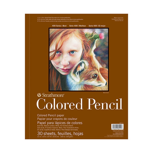 """Strathmore Coloured Pencil Pad 400 Series 11""""x14"""" - 30 Sheets"""