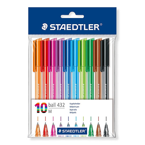 Staedtler Triangular Ball Pen (Set Of 10 Colours)