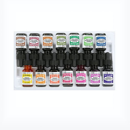 Dr. Ph. Martin's Radiant Concentrated Watercolour Bottles - Set of 14 (Set B)