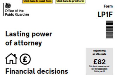 Lasting Power of Attorney Form (POA Financial Decisions)
