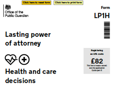 Lasting Power of Attorney Form (Health and care decisions)